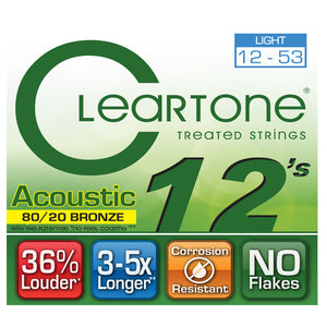 Cleartone Acoustic Guitar Strings - 80/20 Bronze Light Gauge .012 .053 - 1 Pack - Ant Hill Music