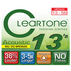 Cleartone Acoustic Guitar Strings - 80/20 Bronze Medium Gauge .013 .056 - 1 Pack