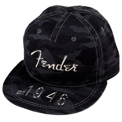 Genuine Fender Apparel Hi-Def Flat Brim Hat Grey Camo Silver Logo Adjustable fit