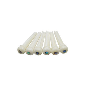 Ant Hill Music Acoustic Guitar Bridge Pins Set of 6 White with Abalone Dot - Ant Hill Music