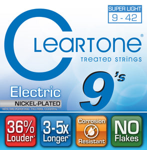 Cleartone Electric Guitar Strings Nickel Plated -Super Light 9-42 - 9409 -1 Pack - Ant Hill Music