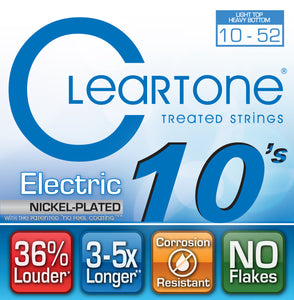 Cleartone Electric Guitar Strings - Light Top - Heavy Bottom 10-52 - 1 Pack - Ant Hill Music