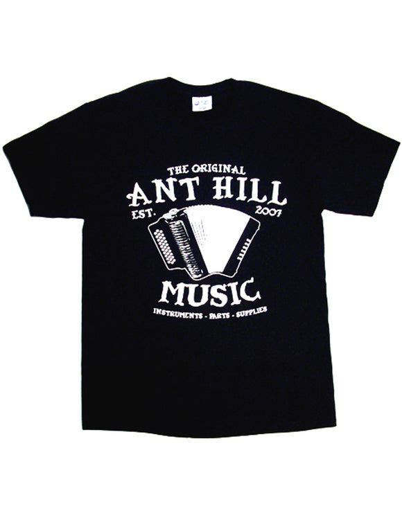 Ant Hill Music Accordion Logo Tee Shirt Black 100% Preshrunk Cotton - Ant Hill Music