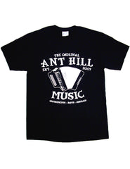 Ant Hill Music Accordion Logo Tee Shirt Black 100% Preshrunk Cotton