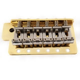 "Fender Big Block Mexican Stratocaster Tremolo Bridge with a High Mass Block Gold Plate and Nickel-Plated Classic Bent ""FENDER"" Stamped Saddles - Ant Hill Music"