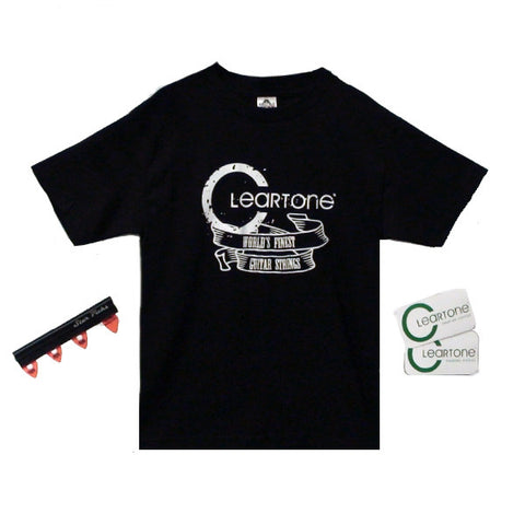 Cleartone World's Finest Guitar Strings Print Small T-Shirt Bundle