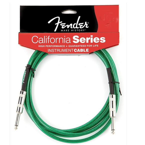 Fender California Cable - Instrument Cable - Lifetime Guarantee - Green - 15 FT - Ant Hill Music