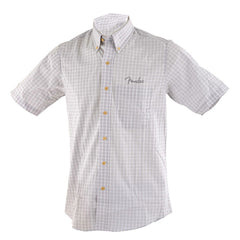 Genuine Fender Button Down Short Sleeve Shirt in White/Gray Plaid Small