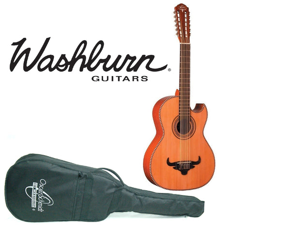 Oscar Schmidt by Washburn Cedar Top Bajo Sexto Guitar (12-String) with Gig Bag - Ant Hill Music