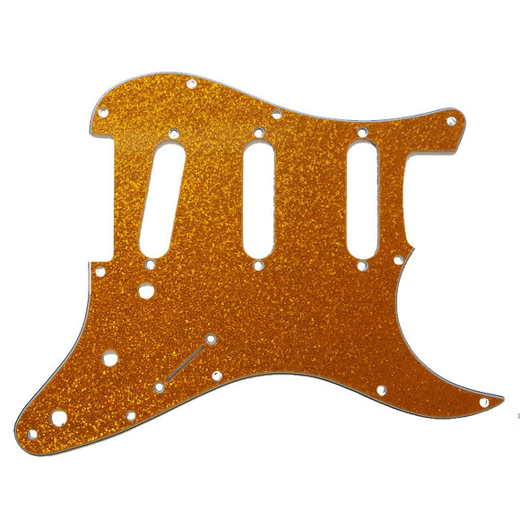 Ant Hill Music Stratocaster Pickguard 11 Hole 3ply SSS Gold Sparkle fit US/MEX - Ant Hill Music