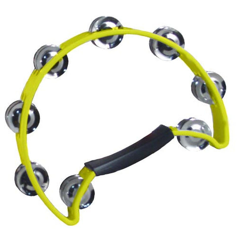 Coda Double Row Tambourine with Ergonomic Handle -Yellow