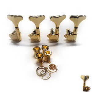 Mighty Mite Bass Guitar Tuning Machines Left Handed Sealed Gear 4 inline Gold