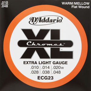 D'Addario - Chromes - Flatwound Electric Guitar Strings - ECG23 - 10-48 - 1 Pack - Ant Hill Music