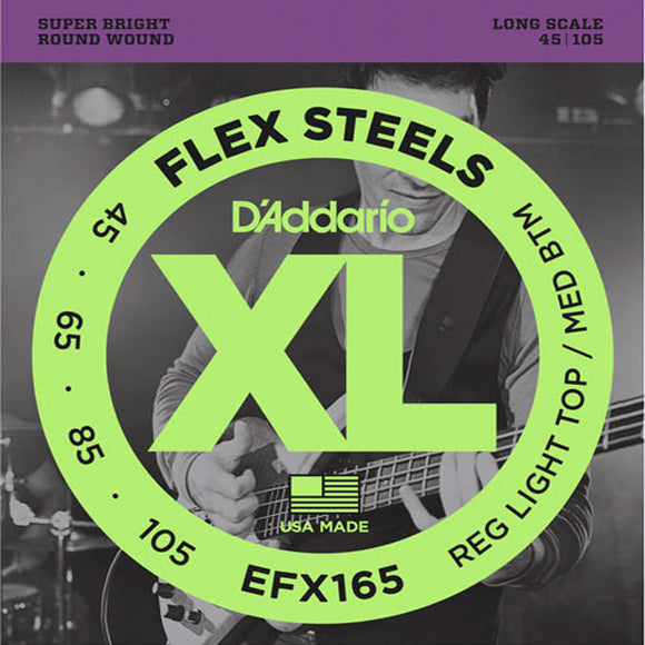 D'Addario 4 String Bass Strings Flex Steels Custom Light 45-105 Long Scale - Ant Hill Music