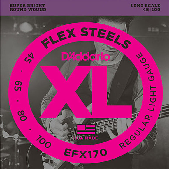D'Addario Flex Steels Wound 4-string Electric Bass Strings Light 45-100 EFX170 - Ant Hill Music