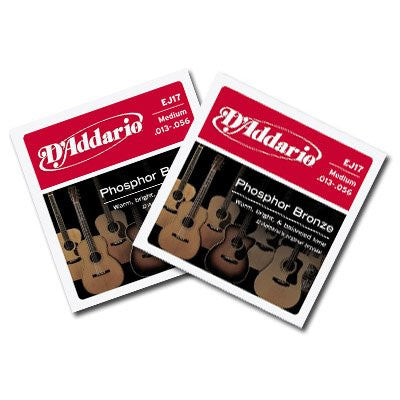 D'Addario Phosphor Bronze Acoustic Guitar Strings Med. 13-56 EJ17- 2 Packs