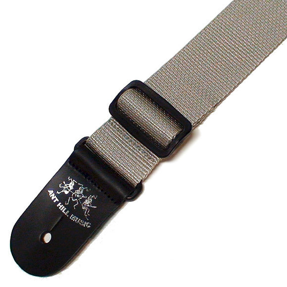 Ant Hill Music Guitar Strap Adjustable Nylon Gray/Leather Ends Made in the USA - Ant Hill Music