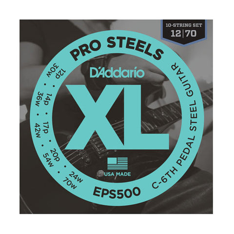 D'Addario PRO STEELS Pedal Steel Strings C6th Tuning 10 String 012-070 EPS500