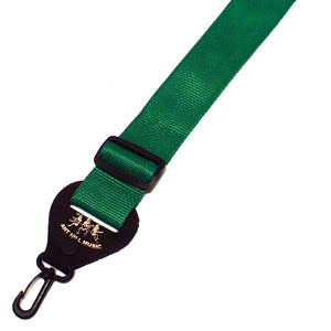 Ant Hill Music Banjo Strap Solid Green Nylon with Leather Ends Made in the USA - Ant Hill Music