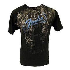 Genuine Fender Heaven's Gate Print T-Shirt in Black Men's Medium 100% Cotton