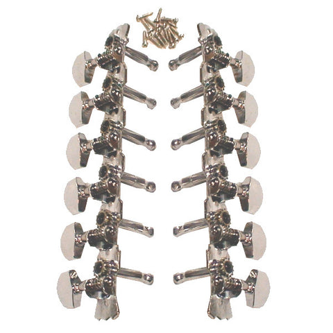 Mighty Mite 12 String Guitar Tuning Machines 2x6 on a plate Chrome
