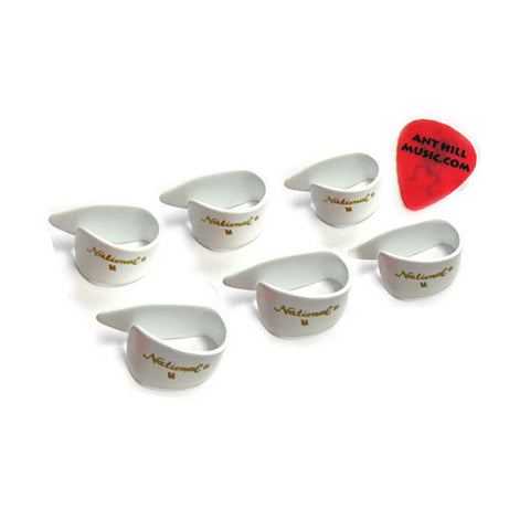 National Thumb Picks 6 Pack White Med + Free Ant Hill Music Pick!
