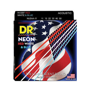 DR Strings Neon Red White Blue Acoustic Guitar Strings Med Light 11-50 NUSAA-11 - Ant Hill Music