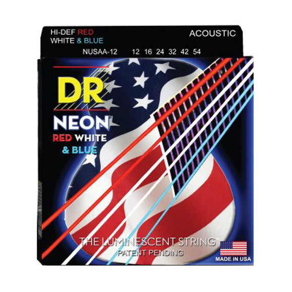 DR Strings Neon Red White Blue Acoustic Guitar Strings Medium 12-54 NUSSA-12 - Ant Hill Music