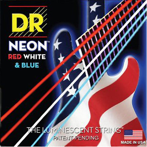 DR Strings Neon Red White Blue 5 String Bass Strings Medium 45-125 NUSAB5-45