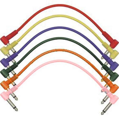 Patch Cables - Patchbay & Pedalboard - 1/4 in - 1/4 in - 1 FT Multicolor - Qty 6 - Ant Hill Music