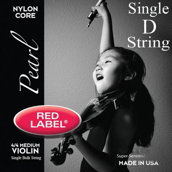 Red Label Pearl Violin Strings  - Medium 4/4 Scale - Single D String - Ant Hill Music