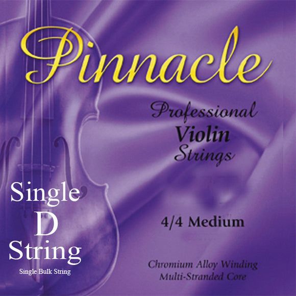 Pinnacle Violin Strings  - Medium 4/4 Scale - Single D String - Ant Hill Music