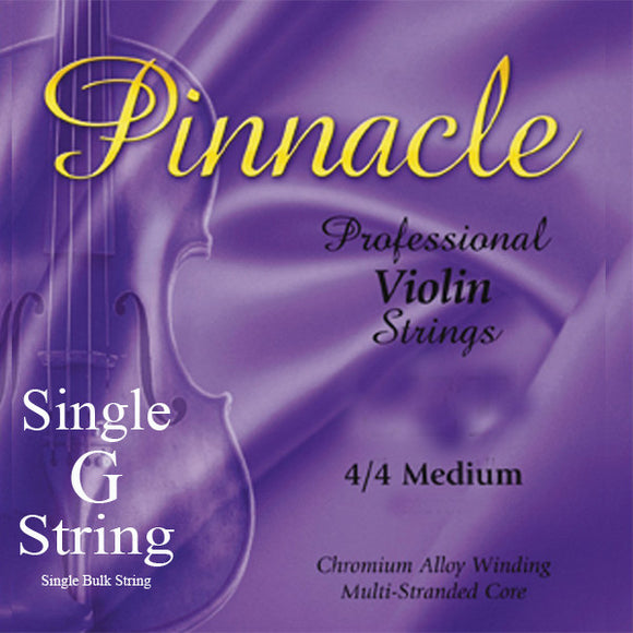 Pinnacle Violin Strings  - Medium 4/4 Scale - Single G String - Ant Hill Music