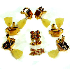 Kluson Guitar Tuning Machines - 3 per side - Gold - Pearloid Keystone Button