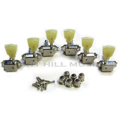 Kluson Guitar Tuning Machines - 3 per side - Nickel - Pearloid Keystone Button