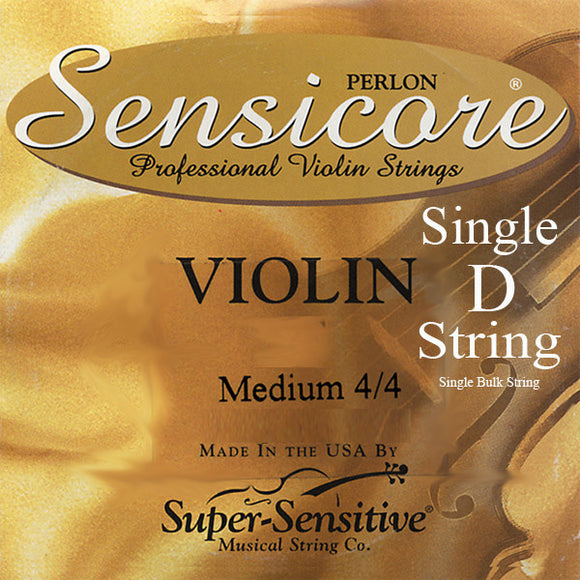 Sensicore Violin Strings  - Medium 4/4 Scale - Single Silver D String - Ant Hill Music
