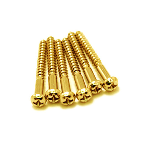 Electric Guitar Strat Tremolo Bridge Mounting Screws Gold - Qty 6