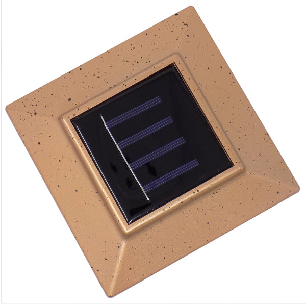 "Solar Powered Outdoor LED Post Cap Light Mount 4"" x 4"" - Copper"