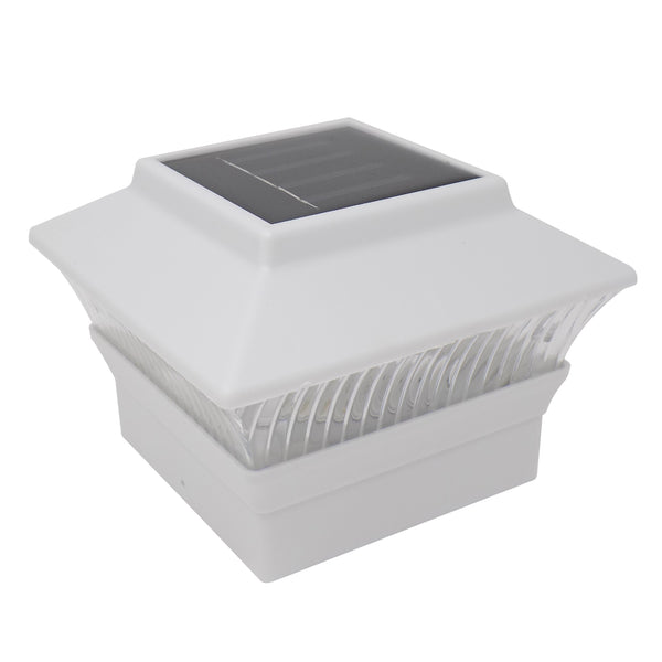 "Solar Powered Outdoor LED Post Cap Light Mount 4"" x 4"" - White"