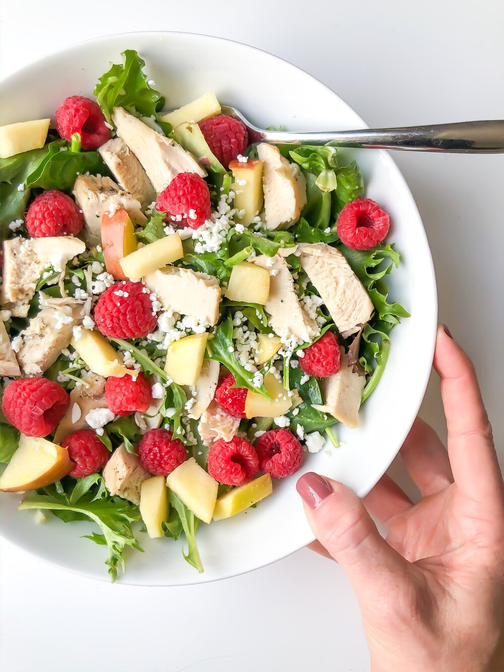 Apple, Raspberry, Mixed Greens Salad