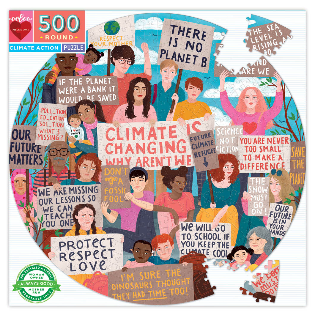 eeBoo 500 pc round puzzle - climate action