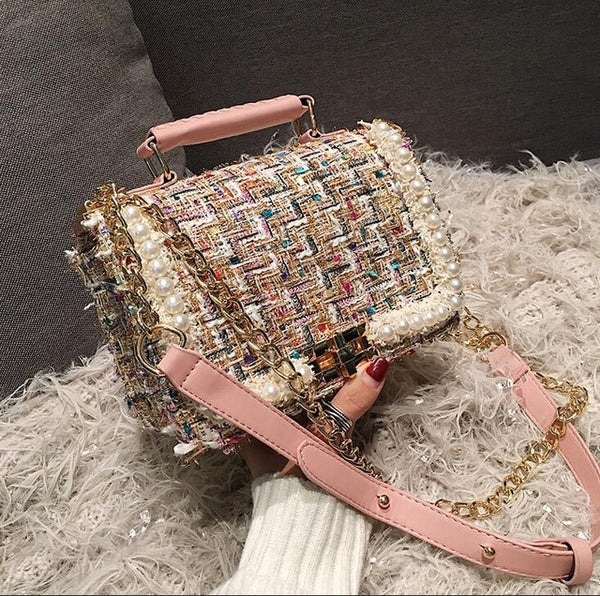 Eloisa Luxury Woolen Pearl Bag