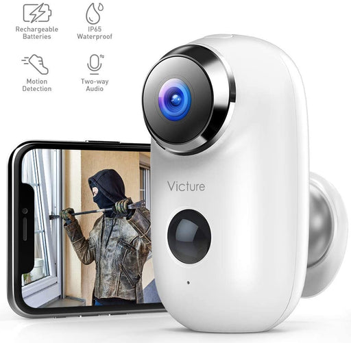 Victure 1080P Outdoor Camera Wireless Rechargeable Battery Powered Home Security WiFi Camera - Macs Plus More