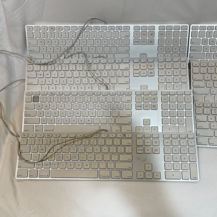 Lot of 7 Apple Aluminum Wired Keyboard MB110LL/A Slim Full Size A1243 Parts or Repair - Macs Plus More
