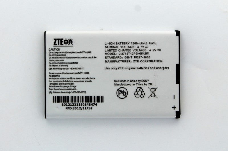 OEM 1500 mAh Replacement Battery (LI3715T42P3H654251) for ZTE MF61