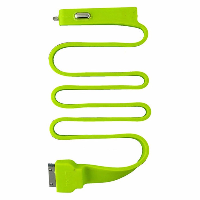 Tylt BAND Car Charger with Apple 30-Pin Connector and Extra USB Port - Green