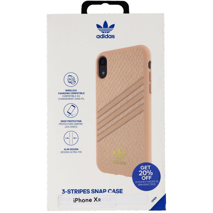 Adidas Snake Moulded 3-Stripes Snap Case for iPhone XR - Pink/Gold Metallic - Macs Plus More