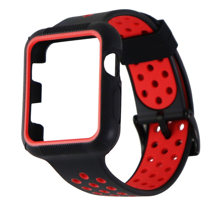 Protective Case Band for Apple Watch 42mm and 44mm All Series - Black/Red - Macs Plus More