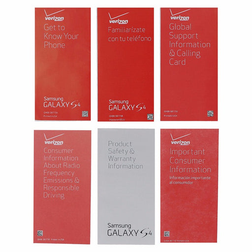 Manual and Information Pack for Samsung Galaxy S4 - Verizon Branded - Macs Plus More