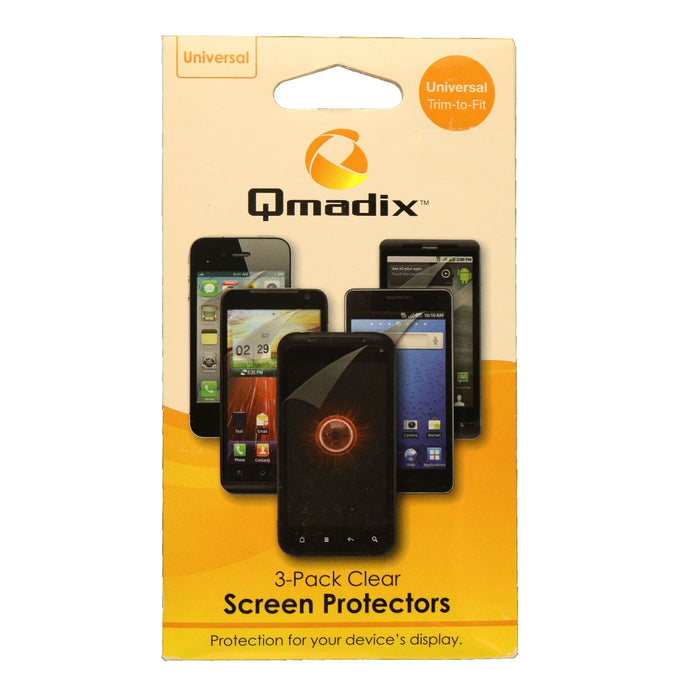Qmadix Universal Trim to Fit Screen Protector for Smartphones - 3 Pack - Clear